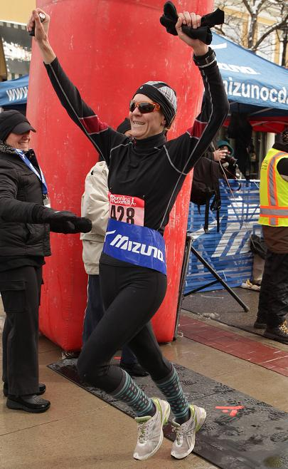 Michelle Wins Chilly Half